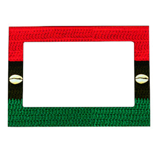 Cowrie Shells Red Black Green Crochet Print on Magnetic Picture Frame