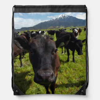 Cows and Mt Somers Drawstring Bag