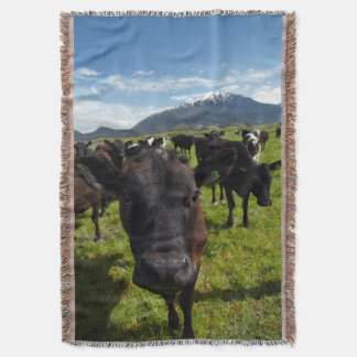 Cows and Mt Somers Throw Blanket