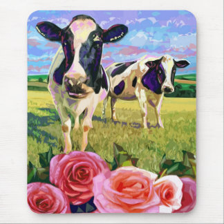COWS AND ROSES MOUSE PAD