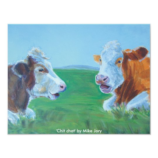 Cows chatting & lying down illustration Chit Chat Card