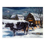 COWS: CHRISTMAS: SNOW: ART: HOLTEIN POSTCARD