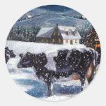 COWS: CHRISTMAS: SNOW: ART: HOLTEIN ROUND STICKER