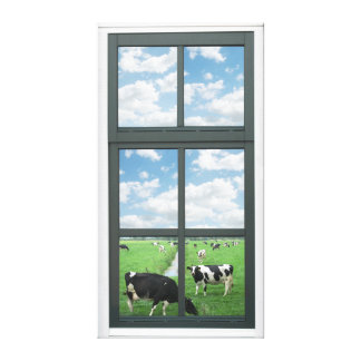 Cows Faux Window View Canvas Print