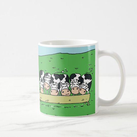 Cows Feeding in a Field Design Coffee Mug
