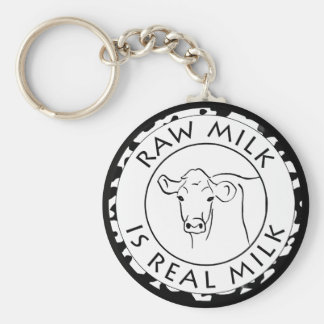 Cows for Raw Milk Basic Round Button Key Ring