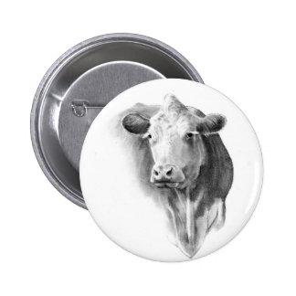 COW'S HEAD IN PENCIL 6 CM ROUND BADGE