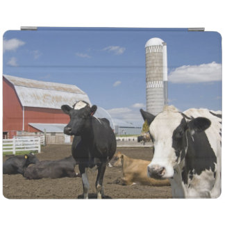 Cows in front of a red barn and silo on a farm 2 iPad cover