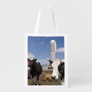 Cows in front of a red barn and silo on a farm 2 reusable grocery bag