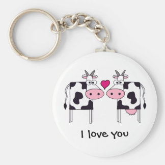 Cows in Love Basic Round Button Key Ring