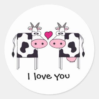 Cows in Love Classic Round Sticker
