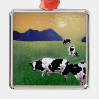 cows in summer mist christmas ornament