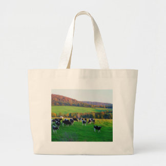 Cows in the field large tote bag