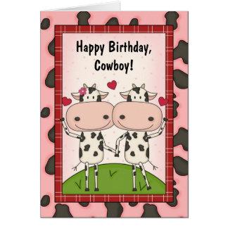 Cows Love Birthday Guys Greeting Card