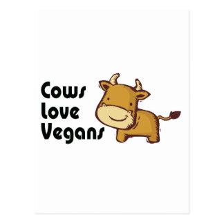 cows love vegans postcard