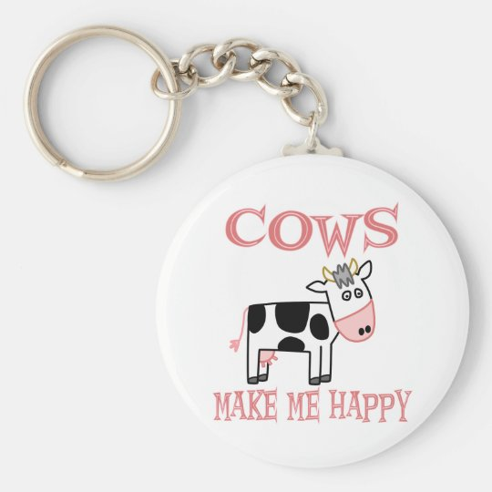 Cows Make Me Happy Basic Round Button Key Ring
