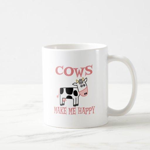 Cows Make Me Happy Basic White Mug