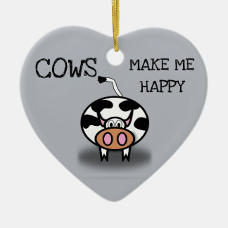 Cows make me happy christmas ornament