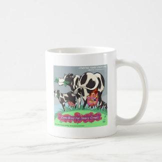 Cows Making Heavy Cream Funny Cartoon Basic White Mug