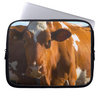 Cows on farm laptop sleeve