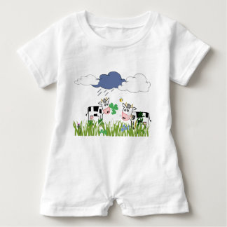 Cows on the pasture baby bodysuit
