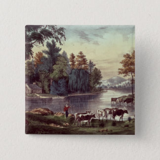 Cows on the Shore of a Lake 15 Cm Square Badge