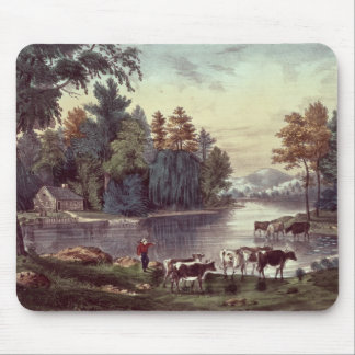 Cows on the Shore of a Lake Mouse Pads