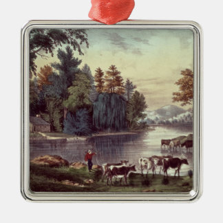 Cows on the Shore of a Lake Silver-Colored Square Decoration