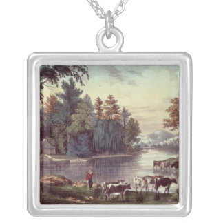 Cows on the Shore of a Lake Square Pendant Necklace