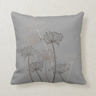 Cows parsley graphic grey iron brown throw pillow