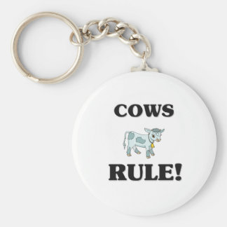 COWS Rule! Basic Round Button Key Ring