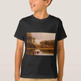 Cows Watering in a Landscape by Albert Bierstadt T-Shirt