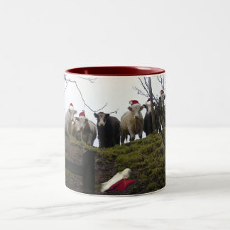 Cows wearing Santa hats Christmas gift mug. Two-Tone Coffee Mug