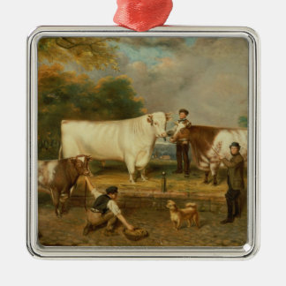 Cows with a herdsman Silver-Colored square decoration
