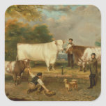 Cows with a herdsman square stickers