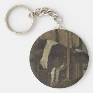 Cowshed by Paula Modersohn-Becker Basic Round Button Key Ring