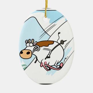 CowSkiing Christmas Ornament