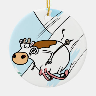 CowSkiing Round Ceramic Decoration