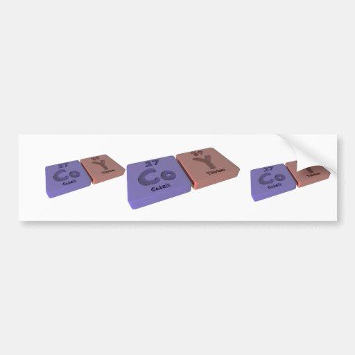 Coy as Cobalt Co and Yttrium Y Bumper Stickers