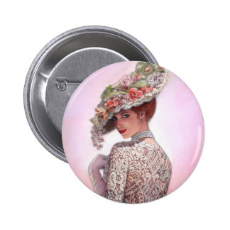 "Coy Victorian Lady ""Betty Lu"" 6 Cm Round Badge"