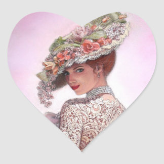 "Coy Victorian Lady ""Betty Lu"" Heart Sticker"