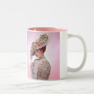 "Coy Victorian Lady ""Betty Lu"" Two-Tone Coffee Mug"