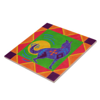 Coyote Drummer Large Square Tile