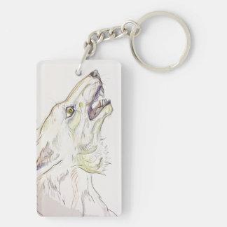 Coyote Howl Double-Sided Rectangular Acrylic Key Ring