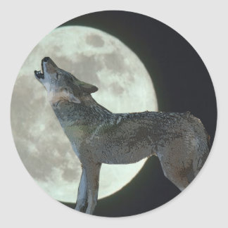 Coyote Howling at the Moon Classic Round Sticker