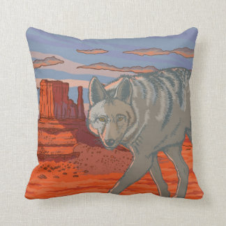 Coyote in Monument Valley, Arizona Cushion