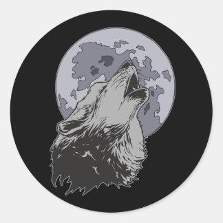 Coyote Moon Round Sticker