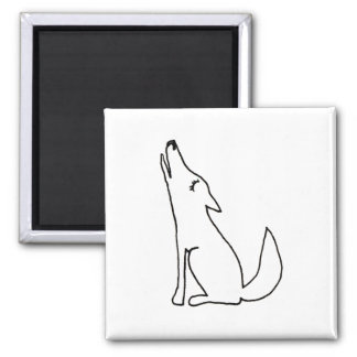 Coyote wolf dog howling - fun ink line drawing art magnet