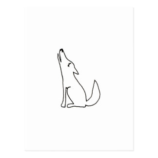 Coyote wolf dog howling - fun ink line drawing art postcard