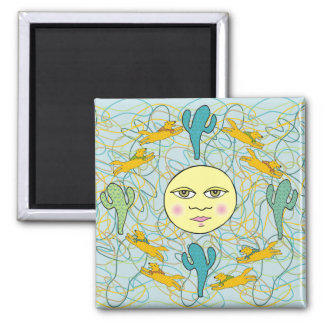 Coyotes with Cacti on Teal with Organic Shapes Refrigerator Magnet